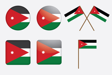 set of badges with flag of Jordan vector illustration