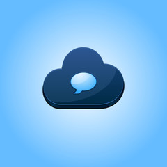 Cloud computing chat icon concept vector illustration