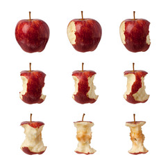 Different stages of an apple being eaten isolated on white