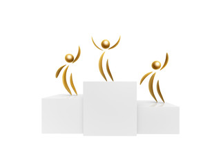 golden winner on podium