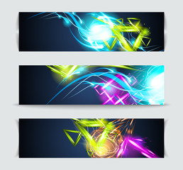 Set of banners and abstract headers with shadows