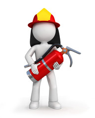 Cartoon fire fighter