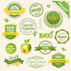Vector Organic Food, Eco, Bio Labels and Elements
