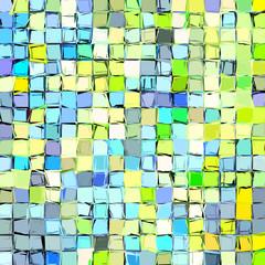 abstract fragmented mosaic blue green yellow backdrop