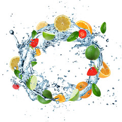 Fresh fruit on water splash