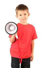 portrait of little boy with speaker isolated on white