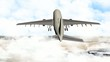 Airplane over The Arabian Peninsula and cloudy sky