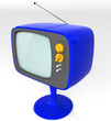 blue retro TV with long stand