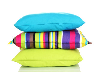 Bright color pillows isolated on white