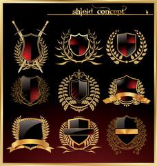 Shield and laurel wreath set