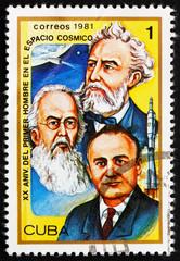 Postage stamp Cuba 1981 Jules Verne, Konstantin E. Tsiolkovski a
