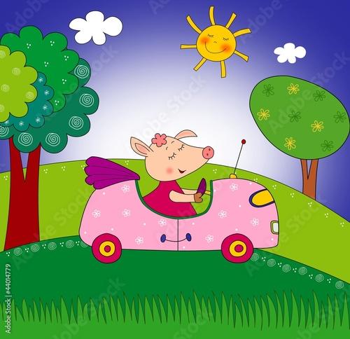 swinka-na-samochodzie-i-slonko,-bajki,-basnie,-rysunki
