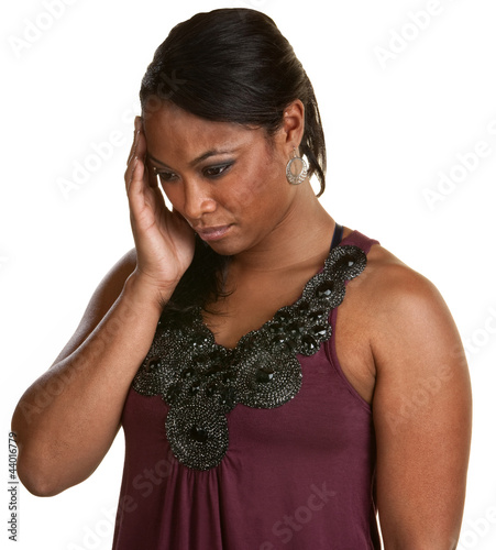 Black Woman Holding Head