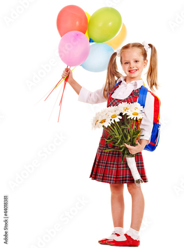 Schoolchild with flower.