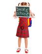 Little girl with blackboard.