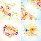 Four floral designs. Eps8 (Flatten transparency).