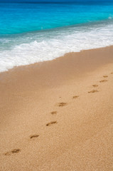 Footsteps on the beach by the wave