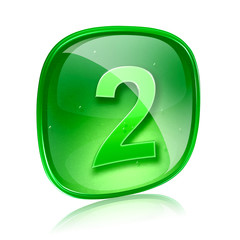 Number two icon green glass, isolated on white background