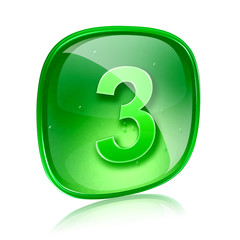 Number three icon green glass, isolated on white background