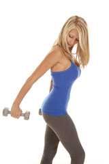 woman blue top weights behind
