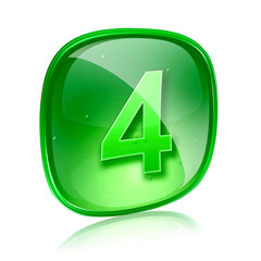 Number four icon green glass, isolated on white background