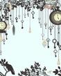 Clock and keys vintage vertical background