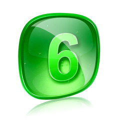 Number six icon green glass, isolated on white background