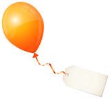 Fototapety Flying Orange Balloon & Beige Label