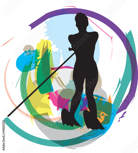 Water skiing woman. vector illustration