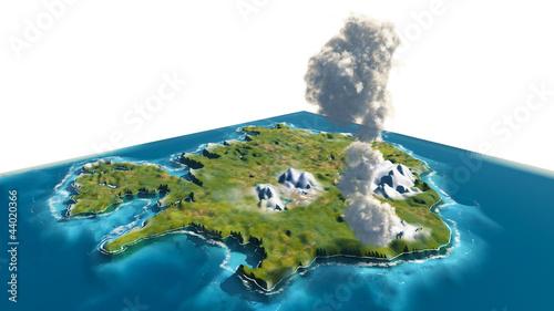 Vulcano Islanda 3d isola - 44020366