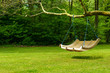 Swing bench in lush garden
