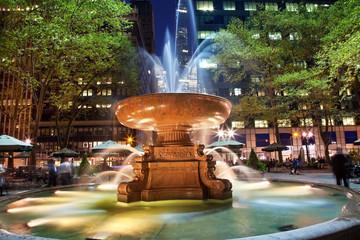 Fountain Bryant Park New York City Night