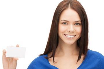 attractive businesswoman with business card