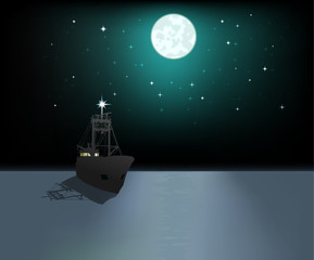 Ship in sea on background moon and stars