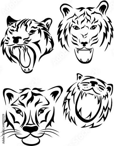 虎部落纹身风格.向量组; 44022529; 龙vs 虎扑灭.