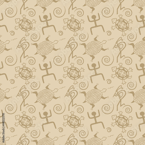 Native American seamless pattern vector with abstract motifs