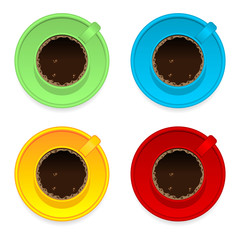 Colorful coffee cups isolated over white background
