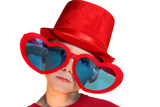 Boy In Red Hat And Heart Glasses Horizontal