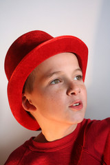 Boy in Red Top Hat