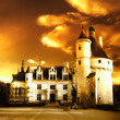 beautiful castles of France - Chenonceau on sunset