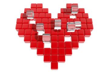 Corazón rojo formado con cubos