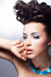 Sensual woman gazing. Fashion style. Bright coiffure and make-up