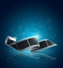 Caméra rouleau de film sur fond bleu, illustration