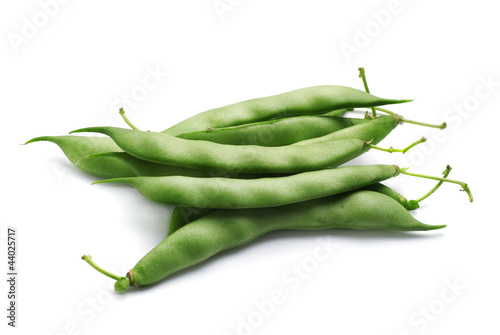 Bunch of fresh green beans isolated on white background.