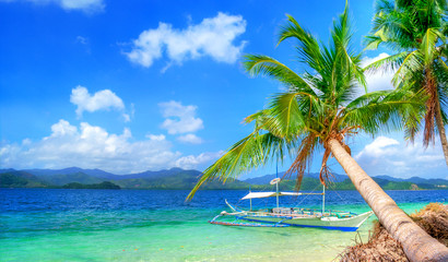 tropical beach scenery with boat