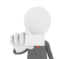 3d Businessman in office showing a blank business card