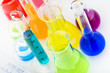 Scientific laboratory glassware filled with colored liquid