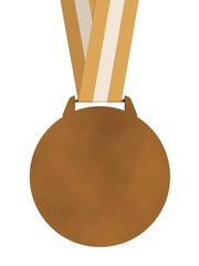 Isolated plain bronze medal with strap