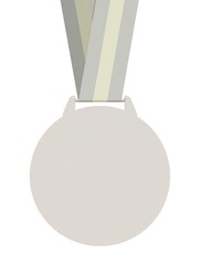 Isolated plain Silver Medal with Strap