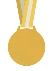 Isolated Plain Gold Medal with strap